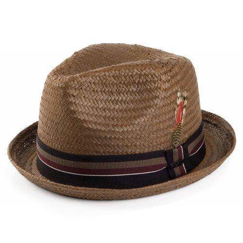Jaxon Tribeca Toyo Straw Fedora Hat (Small, Brown)