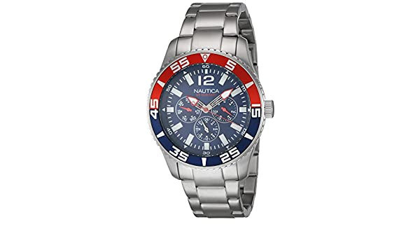 Amazon.com: Nautica Mens Multifunction Analog Round Blue Dial Watch Steel Bracelet A15653G: Watches