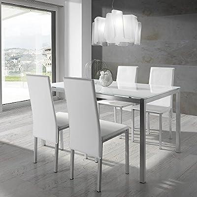 VS Venta-stock Conjunto Mesa y 4 sillas Elodie Blanco/Plata ...