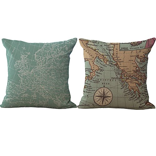 World Linen Pattern - RwalkinZ 2 Packs Retro Vintage Old World Map Pattern Pillow Covers 18 X 18 Square Decorative Throw Pillow Case Cotton Linen Cushion Cover for Home Sofa Bedding Decoration