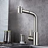 Homdox Kitchen Best Commercial Kitchen Faucets Brushed Nickel Stainless Steel Single Handle Pull Down Sprayer Kitchen Faucet, Pull Out Kitchen Faucets Brushed Nickel