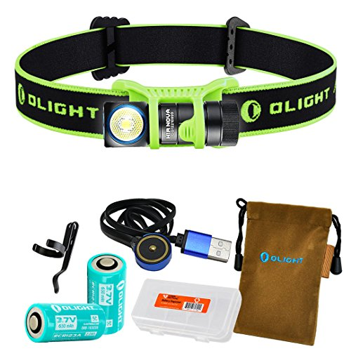 OLIGHT H1R Nova 600 Lumens Rechargeable LED Headlamp w/ 2x RCR123A Batteries, Magnetic USB Charging Cable, and LumenTac Battery Organizer (Green, Neutral White) by OLIGHT