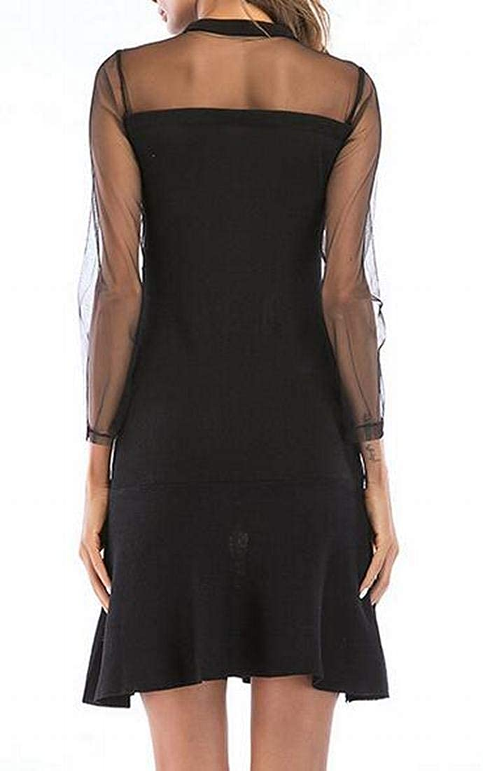 Nanquan Women Party Long Sleeve Round Neck Slim Fit Mesh Stitching Dress