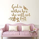 BATTOO Psalm 46:5 Bible Wall Decal Quote - God is within her she will not fall - Teen Girl Vinyl Decal Religious Wall Art Christian Word Vinyl Lettering(gold, 20WX16H)