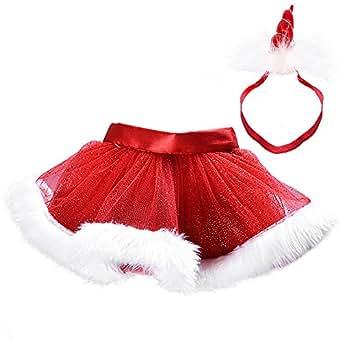 MMTX Navidad pequeña niña de Vestido Rojo Esponja de Tul mullida Traje Tutu Danza Rendimiento de la Falda de Ballet para la Fiesta de Navidad 0-8T (con Diadema)