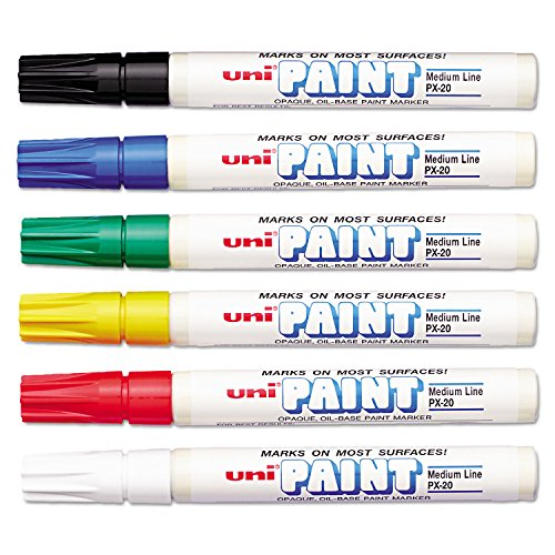 Sanford 63630 Uni-Paint Oil Based Marker, Medium Point, Assorted Inks, 6/Set