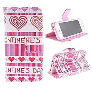 WQQ Peach Color Heart Design PU Full Body Case with Stand with Card Slot for iPhone 5/5S