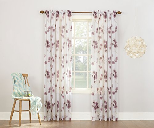 Crushed Voile - No. 918 Kiki Floral Print Crushed Sheer Voile Rod Pocket Curtain Panel, 51
