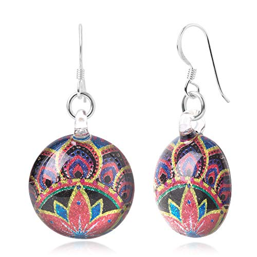 Sterling Silver Hand Blown Glass Multi-Colored Mandala Blooming Flower Round Dangle Earrings ()