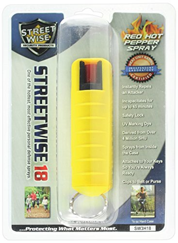 Streetwise Security Products Lab Certified Streetwise 18 Pepper Spray, 1/2-Ounce Hard Case, Yellow