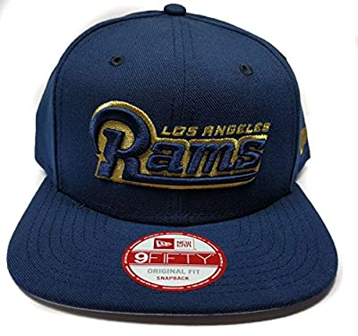 New Era Los Angeles Rams 9Fifty Blue Word Mark Script Adjustable Snapback Hat NFL from New Era