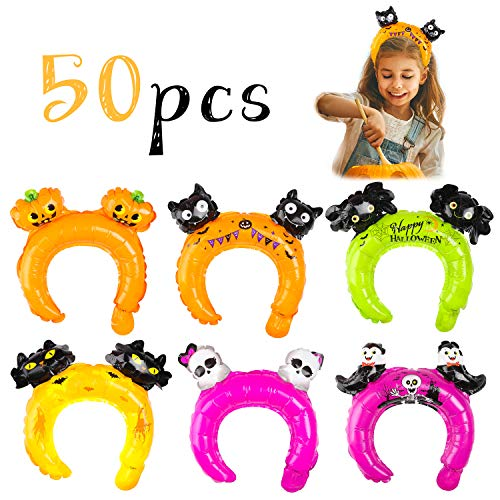 MALLMALL6 50Pcs Halloween Inflatable Headbands Balloons Hats Hair Hoops Dress Up Costumes Trick or Treat Decorations Pretend Play Party Favors Black Cat Bats Spiders Skeleton Pumpkin Raven for Kids