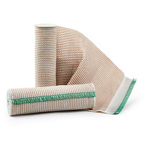 Premium Elastic Bandage Wrap Compression Roll, Includes Hook and Loop Closure, Set of 2 Pack FDA Approved, One Rolls of Each Size 6 Inch x 4.6 Meter Polyester Cotton.