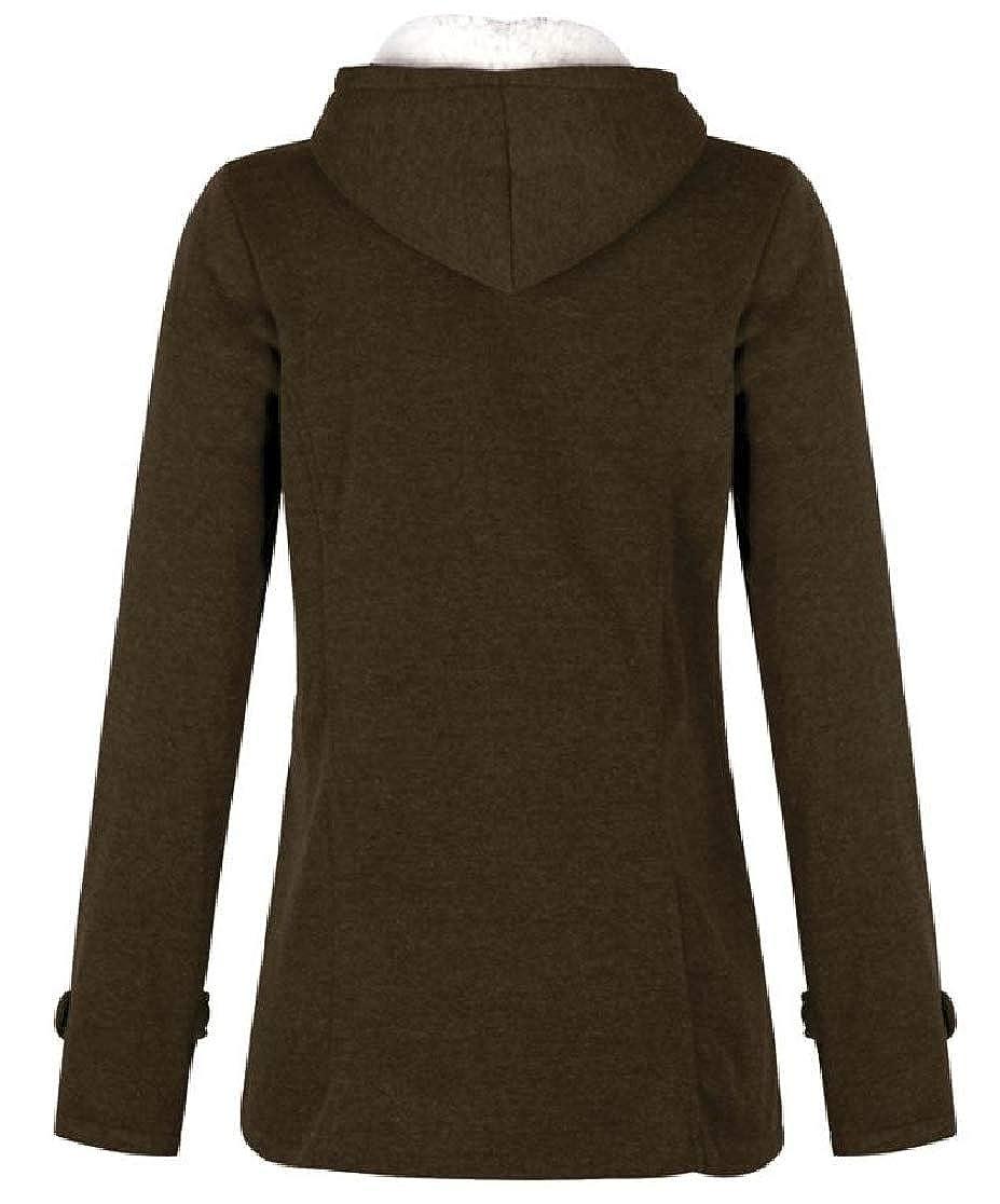 Comaba Women Classics Hooded Velvet Pocket Thick Plus-Size Stylish Outwear Jacket