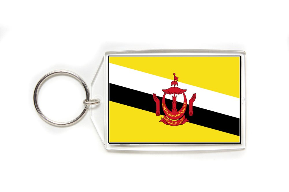 Brunei Flag Double Sided Acrylic Key Ring Large