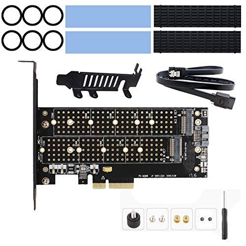 Card Expansion 2x4 - Dual M2 NVME (M Key) and SATA (B Key) SSD PCI-e 3.0 x 4 Host Controller Expansion Card Adapter, 2 x M.2 Aluminum Heatsink, Support NGFF 22x110,22x80, 22x60, 22x42