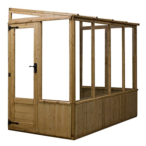 8x4 Lean-To Pent Wooden Greenhouse Shatterproof Styrene Glazing UV Resistant - By Waltons