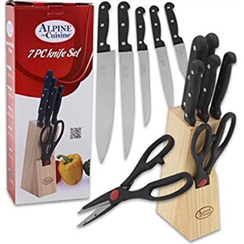 Alpine Cuisine 31899, 7 Piece Knife Block Set, Includes Stainless Steel Knives, Kitchen Shears and Wooden Block Holder, ()