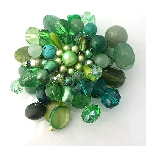 - Green Fusion Cultured Freshwater Green Pearl & Smulated Aventurine & Fashion Crystal Floral Pin or Brooch