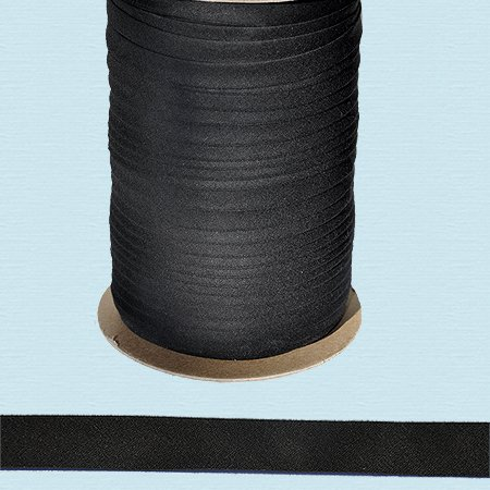 1/2'' Wide Double-fold Bias Tape ~ Poly Cotton (100 yards, Black) by Double-Fold Bias Tape ~ Poly Cotton