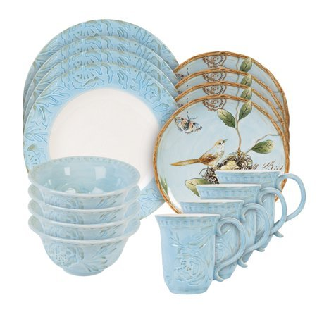 - Fitz and Floyd Toulouse Blue 16 Piece Dinnerware Set