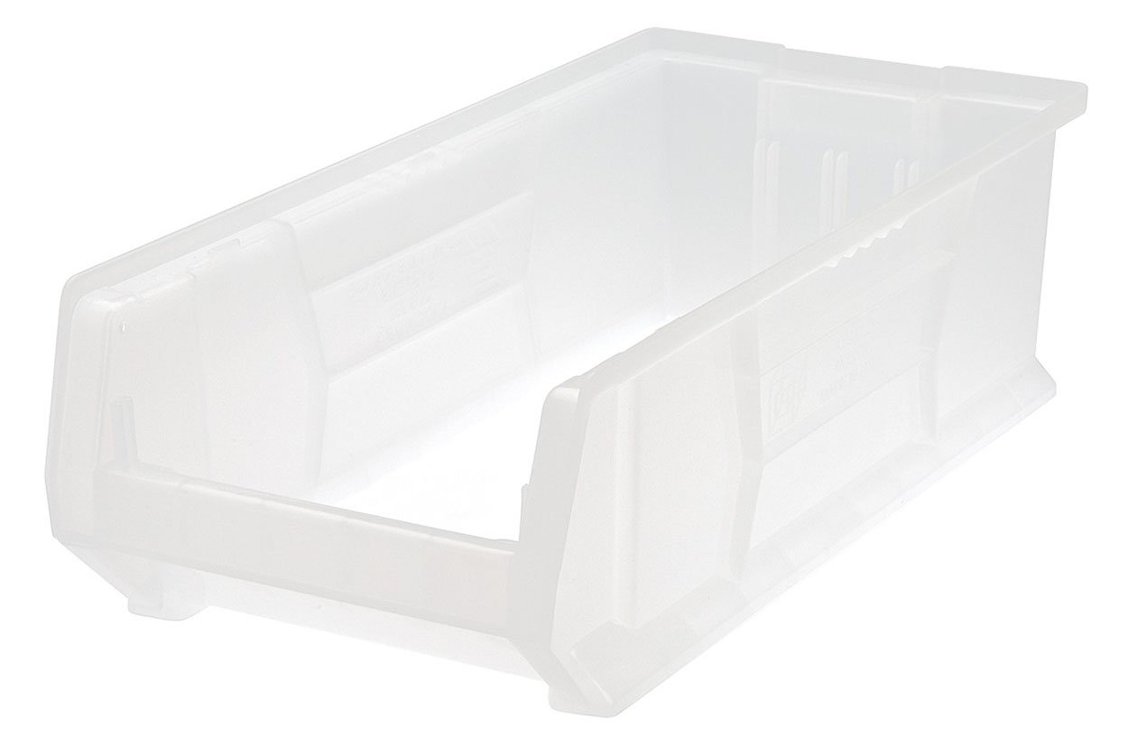 Quantum QUS952 Plastic Storage Stacking Hulk Container, 24-Inch by 11-Inch by 7-Inch, Clear, Case of 4