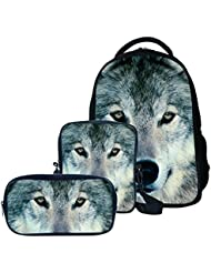 Animals Wolf Printing Children School Book Bag Kids Printing Backpacks 3PCS Set