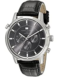 Mens 1790875 Sport Luxury Stainless Steel Watch with Black Leather Band