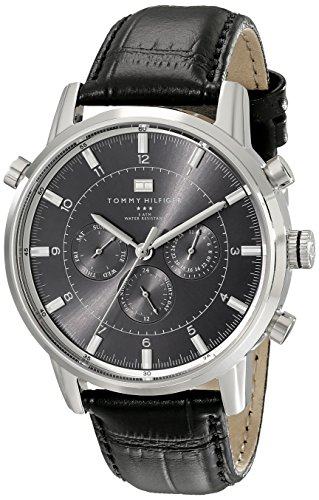 Tommy Hilfiger Mens 1790875 Sport Luxury Stainless Steel Watch with Black Leather Band