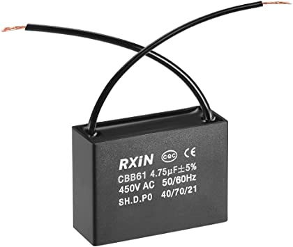 uxcell CBB61 Run Capacitor 450V AC 4.75uF 2 Wires Metallized Polypropylene Film Capacitors for Ceiling Fan