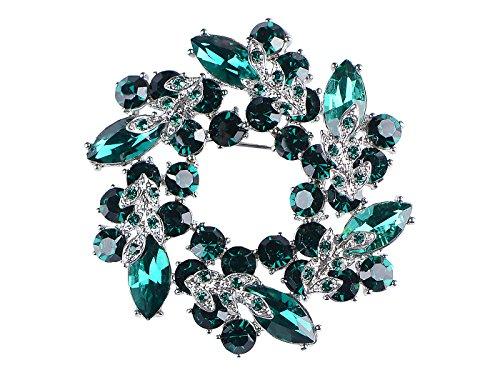 Alilang Womens Diamond Inspired Floral Wreath Holiday Christmas Old Fashion Brooch Pin, Green