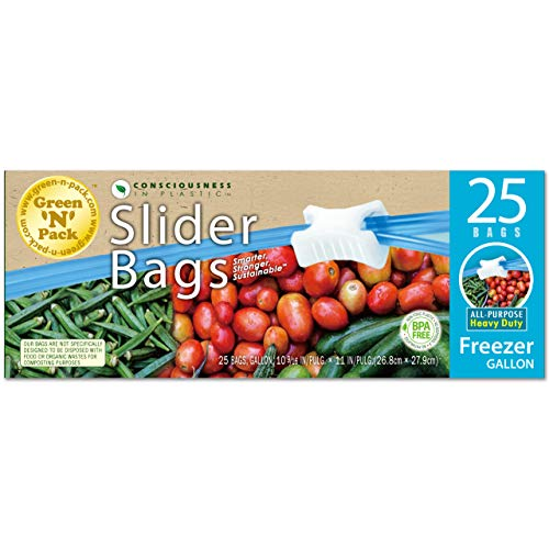 GreenNPack FG25 Slider Freezer Bags, Gallon Size, 25 Count, 1 Gallon