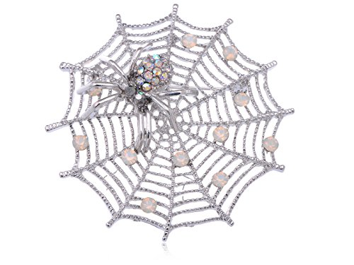Alilang Womens Silver Tone White Iridescent Halloween Spider Web Brooch Pin (Spiderweb Rhinestone Necklace)