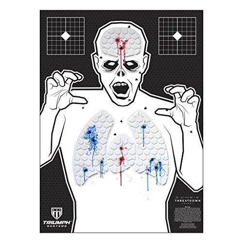 Threat Down Zombie Silhouette | Reactive Target | Shooting Target | Reactive Splatter Cells | Air Rifle, Pistol, Shotgun, Throwing Knives | (22 Long Rifle Target)