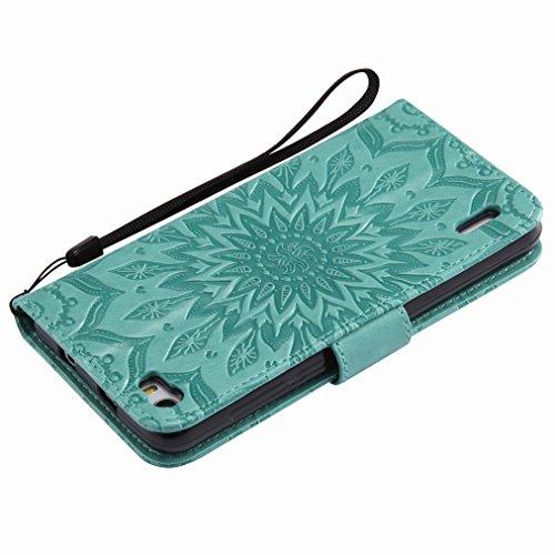 Yiizy Huawei Honor 6 Custodia Cover, Sole Petali Design Sottile Flip Portafoglio PU Pelle Cuoio Copertura Shell Case Slot Schede Cavalletto Stile Libro Bumper Protettivo Borsa (Verde)