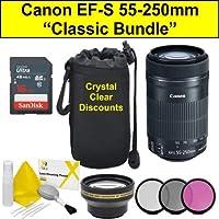 """""""Classic Bundle"""" Canon EF-S 55-250mm f/4-5.6 55-250 mm IS STM Lens - Black + Accessories Bundle"""