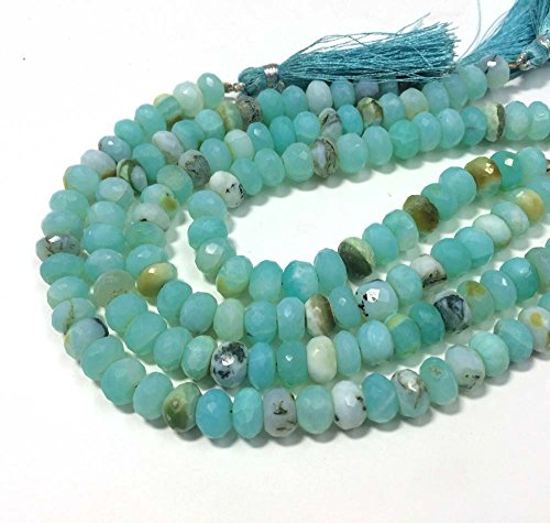 Necklace Opal Peruvian (AAA QUALITY PERUVIAN BLUE OPAL FACETED RONDELLE LOOSE GEMSTONE BEADS 8