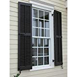 "Ekena Millwork RWL12X064BLP Exterior Real Wood Pine Louvered Shutters (Per Pair), 12"" x 64"", Black"