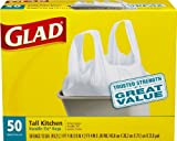 Glad Tall Kitchen White Handle-Tie Trash Bags, 13 Gallon, 50 Count (50 Count - Pack of 8 (400 bags))