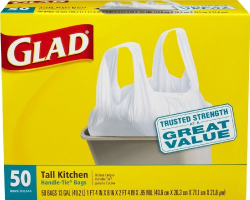 Glad Handle Tie (Glad Tall Kitchen White Handle-Tie Trash Bags, 13 Gallon, 50 Count (50 Count - Pack of 8 (400 bags)))