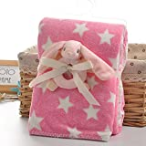 2-layers Pink Star Print Fleece Blanket with Pink Bunny Rattle