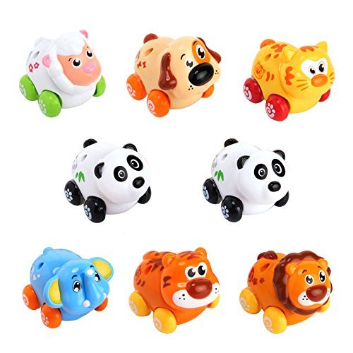 Huile Push and Go Toy Friction Powered Cartoon Animals Toy Cars Play Set for Baby (Animal Car)