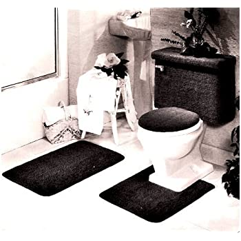 Amazon.com: 5 PIECE BLACK BATHROOM RUG SET, INCLUDES AREA ...