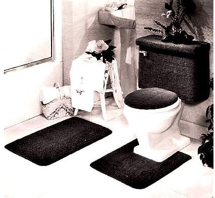 Amazon.com  5 PIECE BLACK BATHROOM RUG SET fbb18e201