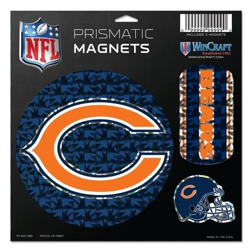 WinCraft NFL Chicago Bears Prismatic Magnets Sheet, 11''x11'', Team Color by WinCraft