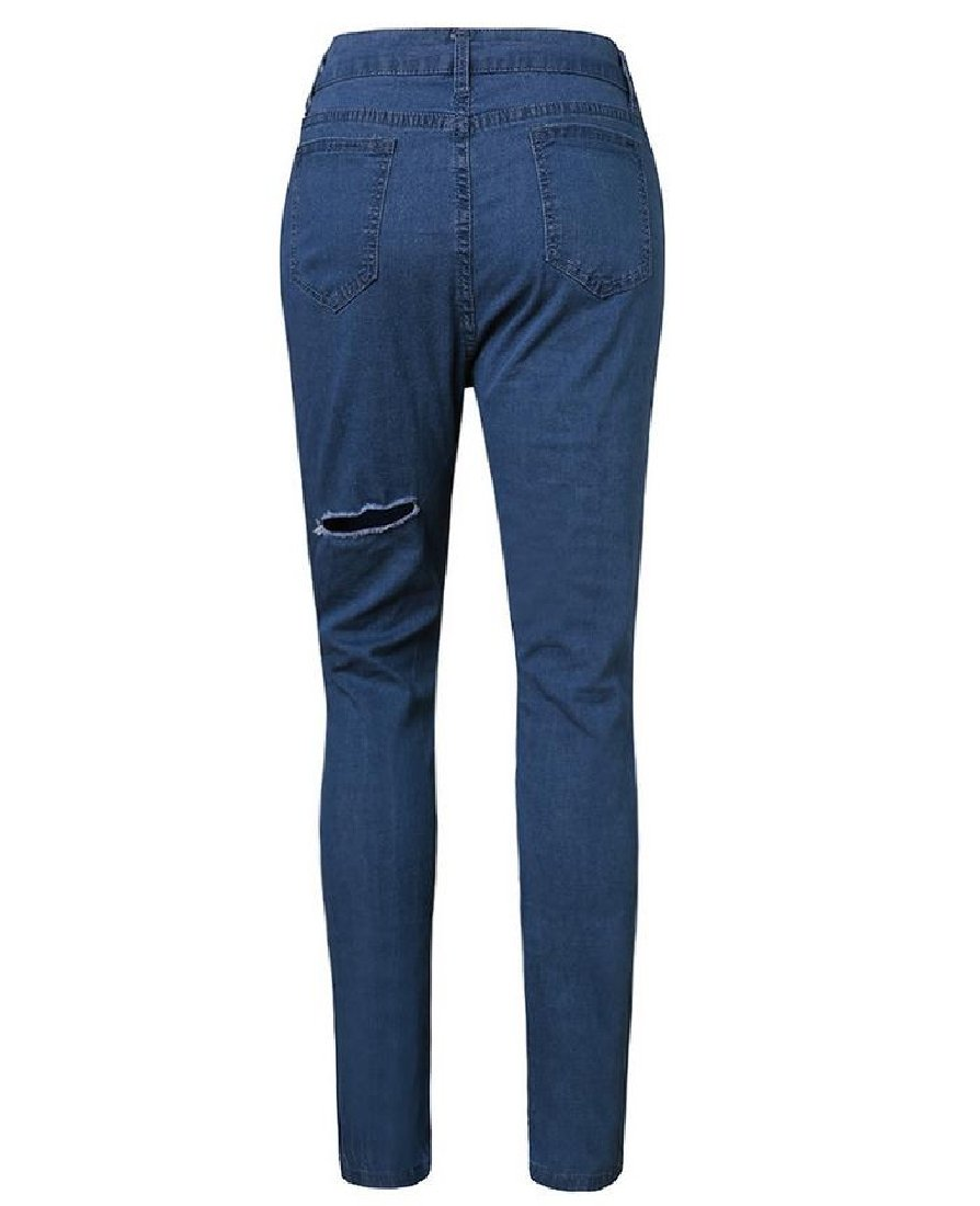 DoufineWomen Doufine Women's Tights Capris Ripped Holes Fit Long Pants Tights Jeans Pants Blue XS by DoufineWomen (Image #2)