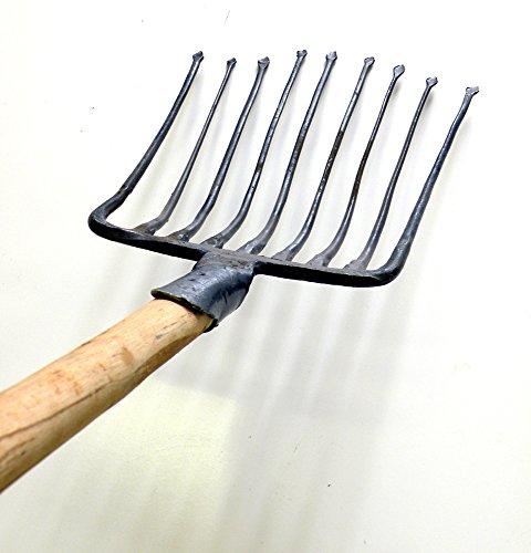 (Ergonomic 9 Tines Forged Pitch Fork,Professional Welded Bedding Fork,Forged Ensilage Manue Fork-Heavy Duty Long Fiberglass Handle, Overall in Length 55