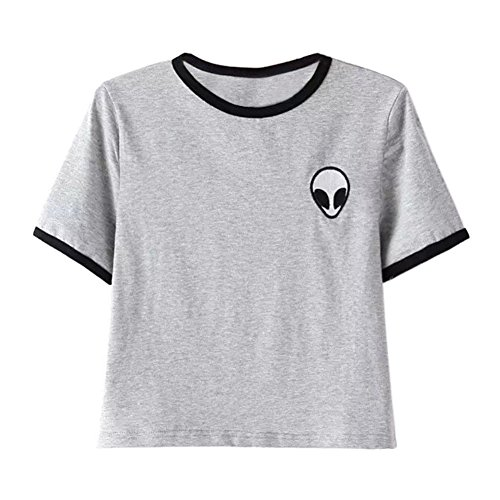 Women Hipster Harajuku Cute Stripe Short Sleeve Top Tee Alien Tshirt (M, Grey)