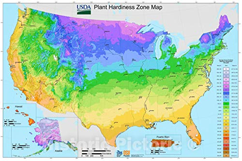 Historic 2005 Map | USDA Plant Hardiness Zone map : [United States] 66in x 44in