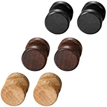 Aroncent Classic Wood Ear Stud Earring Stianless Steel Pin 8/10/12mm 6PCS Black Brown Wooden